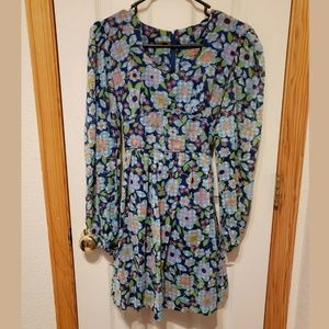 1960s Babydoll Mini Blue Floral Dress